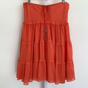 EXPRESS CORAL COTTON SILK EMBELLISHED SKIRT SMALL